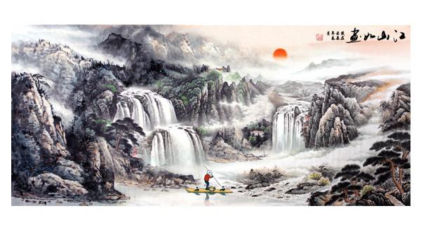 国画山川; 国画山水源文件_山水风景画; 建筑陶瓷壁画